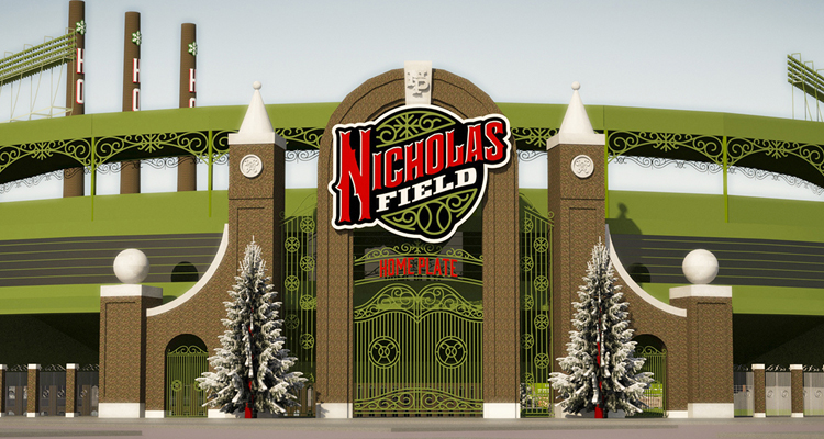 Front gate of the new Nicholas Field